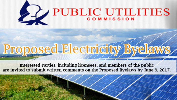 Public Notice: Proposed Electricity Byelaws by PUC