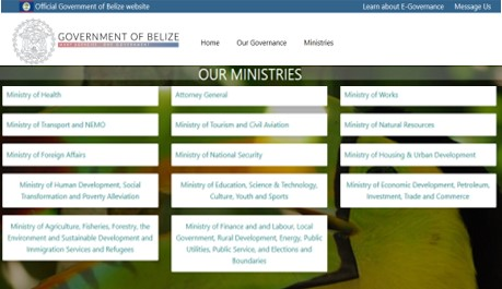 government of Belize wesbite